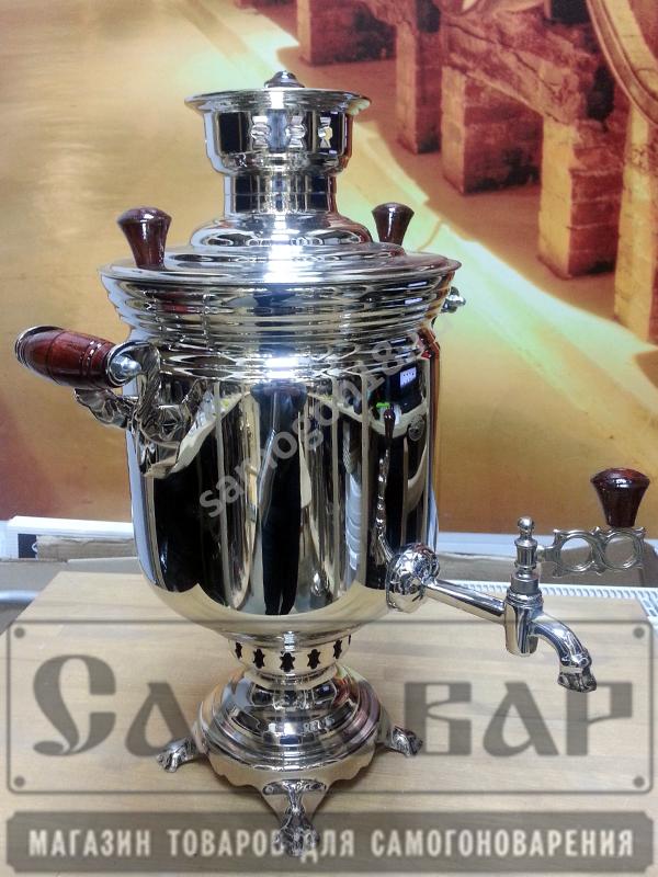 Угольный самовар БАНКА из латуни никелированный (5л)