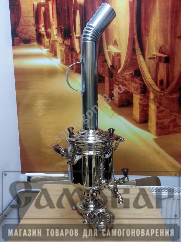 Угольный самовар БАНКА из латуни никелированный (5л) 2